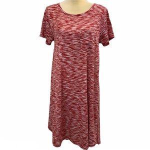LuLaRoe Red & White Striped Carly Swing Dress